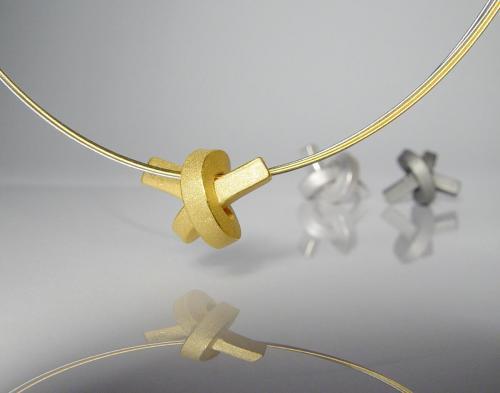 ANH 7 2 Knoten Kette Weißgold - Gelbgold - Platin