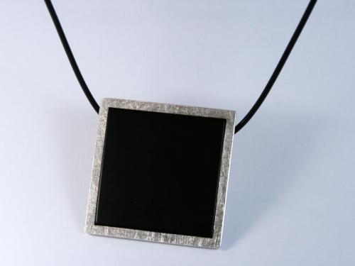 Schwarz-Silber Quadratischer Anhänger